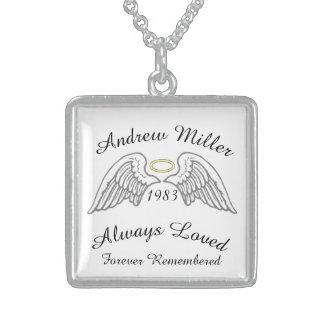 Memorial Keepsake Custom  Silver Yellow Halo Sterling Silver Necklace