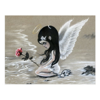 Memorial  little angel ocean tears rose postcard
