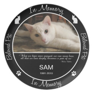 Memorial  - Loss of Cat - Custom Photo Dinner Plate