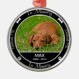 Memorial - Loss of Dog- Custom Photo/Name Silver-Colored Round Ornament