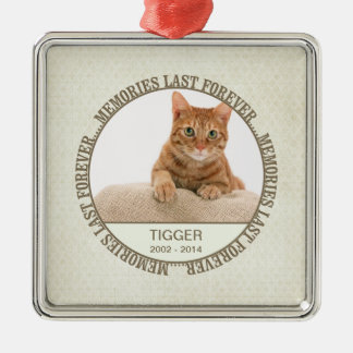 Memorial - Loss of Pet - Custom Photo/Name Silver-Colored Square Ornament