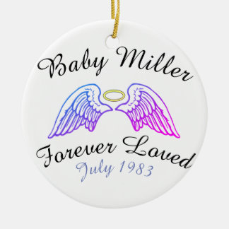 Memorial Ornament Angel Wings Halo Baby' Last Name