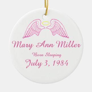 Memorial Ornament Angel Wings Halo PINK
