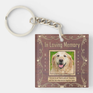 Memorial | Pet Keychain Carved Wood Look