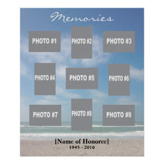 Memorial photo collage with ocean background poster