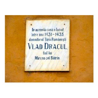 Memorial plaque to Vad Dracul Postcard