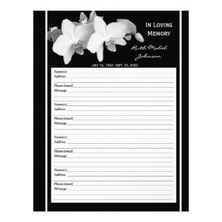 Memorial Remembrance Orchid Guest Book Filler Page Personalized Letterhead