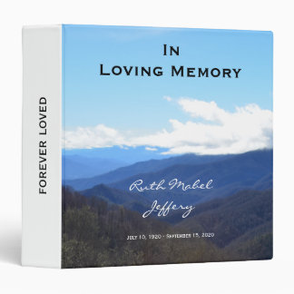 Memorial Remembrance Personalized Binder Mountains
