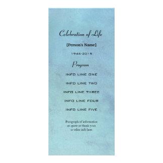 Memorial service blue watercolor program card rack card design