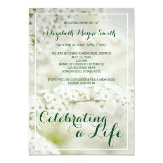 "Memorial Service Celebrating a Life Baby's Breath 5"" X 7"" Invitation Card"