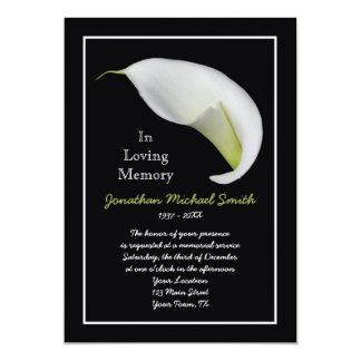 """Memorial Service Invitation Announcement Template 5"""" X 7"""" Invitation Card"""