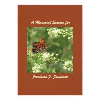 Memorial Service Invitation, Orange Butterfly
