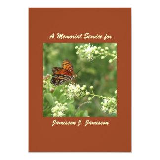 """Memorial Service Invitation, Orange Butterfly 5"""" X 7"""" Invitation Card"""