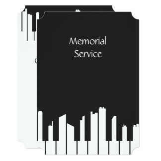Memorial Service Invite Music Piano Keys City