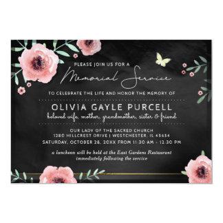 Memorial Service Invite Pink & Black Floral