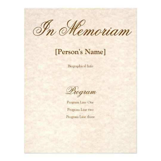 funeral handouts template - memorial service program with custom text flyer