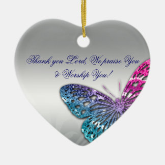 Memorial Sympathy Funeral Butterfly Christian Lord Ceramic Ornament