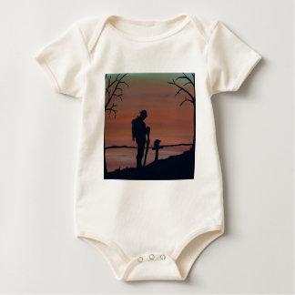 Memorial, Veternas Day, silhouette solider at grav Baby Bodysuit