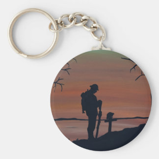 Memorial, Veternas Day, silhouette solider at grav Basic Round Button Keychain