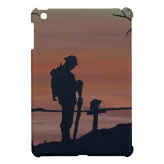 Memorial, Veternas Day, silhouette solider at grav iPad Mini Covers