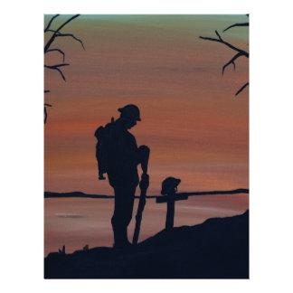 Memorial, Veternas Day, silhouette solider at grav Letterhead