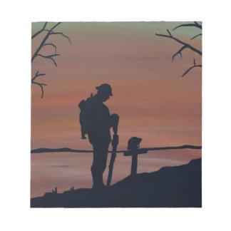 Memorial, Veternas Day, silhouette solider at grav Notepads