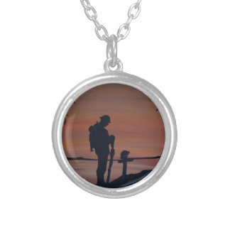 Memorial, Veternas Day, silhouette solider at grav Silver Plated Necklace