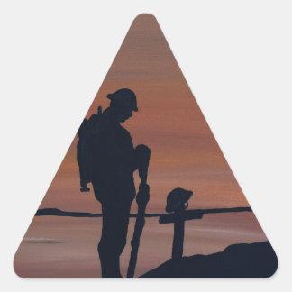 Memorial, Veternas Day, silhouette solider at grav Triangle Sticker