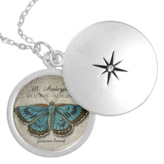 Memorial Vintage Blue Butterfly Pendant Jewelry