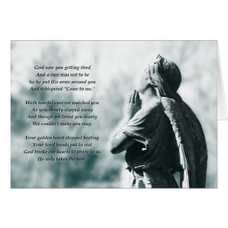 memoriam angel prayer note card
