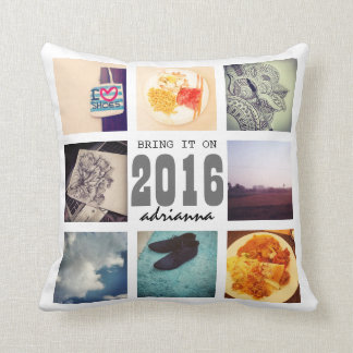 Memories Instagram Photo Collage 2016 Bring It On Throw Pillow