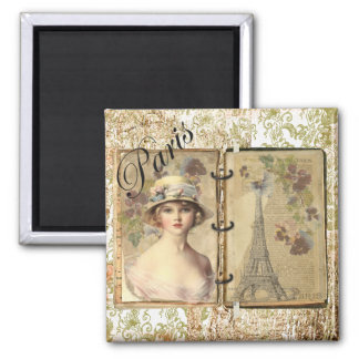 Memories of Paris - Vintage Woman / Eiffel Tower Square Magnet
