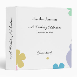 Memory/Guest Book 100th Birthday Party Celebration Vinyl Binders
