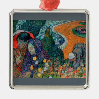 Memory of the Garden at Etten by Vincent van Gogh Silver-Colored Square Ornament