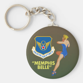 "Memphis Belle"" 8th Air Force Basic Round Button Keychain"