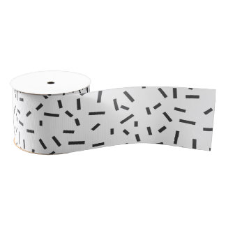 Memphis Geometric Minimal Black Abstract Style Grosgrain Ribbon
