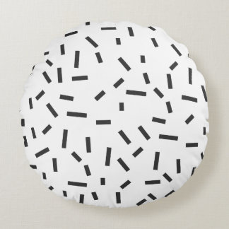 Memphis Geometric Minimal Black Abstract Style Round Pillow