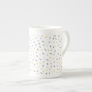 Memphis Geometric Modern Black and Gold Style Tea Cup