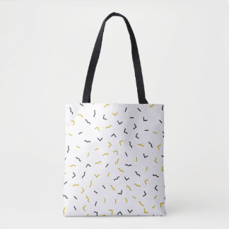 Memphis Geometric Modern Black and Gold Style Tote Bag