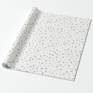 Memphis Geometric Modern Black and Gold Style Wrapping Paper