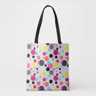 Memphis polka dots tote bag
