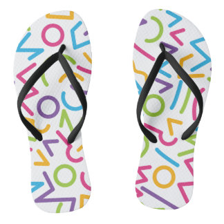 Memphis Retro Colorful Abstract Style Flip Flops
