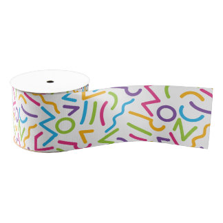 Memphis Retro Colorful Abstract Style Grosgrain Ribbon