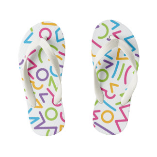 Memphis Retro Colorful Abstract Style Kid's Flip Flops