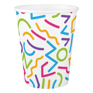 Memphis Retro Colorful Abstract Style Paper Cup