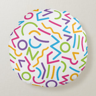 Memphis Retro Colorful Abstract Style Round Pillow