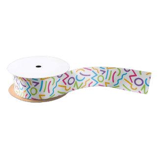 Memphis Retro Colorful Abstract Style Satin Ribbon