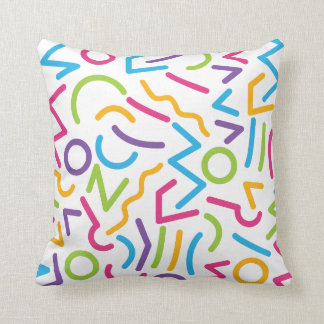 Memphis Retro Colorful Abstract Style Throw Pillow
