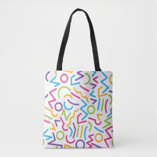 Memphis Retro Colorful Abstract Style Tote Bag