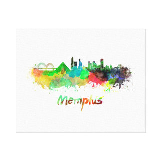 Memphis skyline in watercolor canvas print